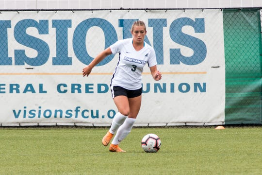 Binghamton University freshman Olivia McKnight, a Vestal graduate, has four goals and four assists this season.
