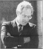David Curtis, former Afton school principal, during an October 1990 court appearance after being accused of sex abuse against a then 15-year-old high school girl. Curtis later resigned and pleaded guilty to a misdemeanor charge.