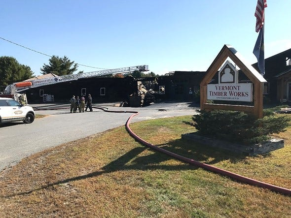 Fire officials respond to a Sept. 21 blaze at Vermont Timber Works in this photo provided by the Vermont Department of Public Safety.