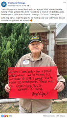 WWII veteran Jim South asks to receive 100 birthday cards for his 100th birthday on Monday, Oct. 7, 2019.