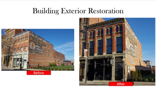 Before and after work shows the restoration work put into The Pour House at Machinery Hall.