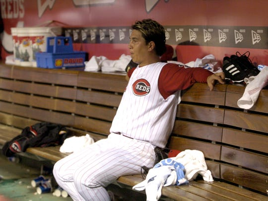 Cincinnati Reds pitcher Danny Graves sits in the dugout after giving up five runs in the 8th inning against the St. Louis Cardinals at Great American Ball Park, Friday, July 16, 2004. The Reds lost 7-5.
