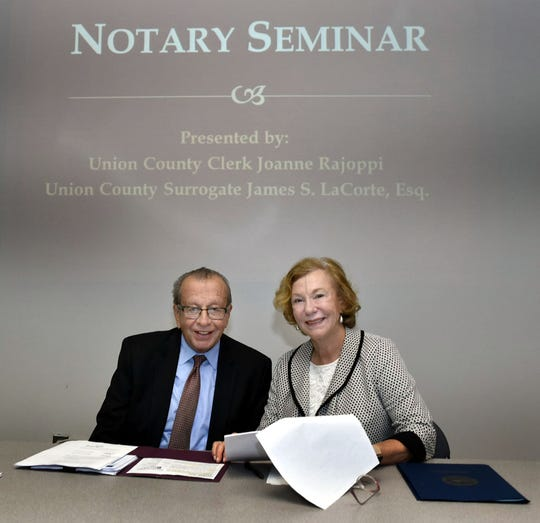 Union County Surrogate James LaCorte, Esq. spoke about the legal aspects of the functions of notaries public at a Notary Training Seminar for New Jersey Notaries Public hosted by Union County Clerk Joanne Rajoppi at the John H. Stamler Police Academy in Scotch Plains. For more information about Notary Public Services, visit www.ucnj.org/county-clerk/notary-public-services.