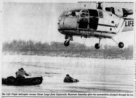 A photo from the Februrary 1981 edition of the Des Moines Register when Life Flight saved a man who fell through the ice at Saylorville Reservoir along with his wife and two others.