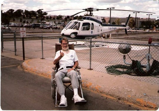 """""""21st Birthday made possible by Life Flight and crew!"""" Mark Block wrote when sending this photo. Block was almost killed when in an accident that ended will the car on top of his body Sept. 23, 1986."""
