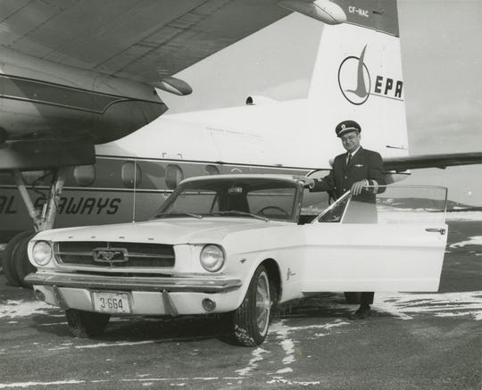 Ford Mustang Serial No. 1 and the original owner, Captain Stanley Tucker in 1966.