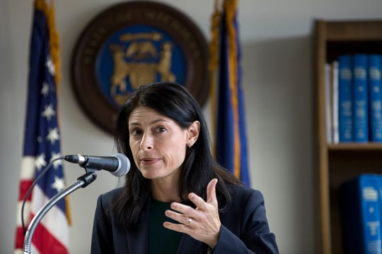 Michigan Attorney General Dana Nessel announces election fraud charges against Southfield City Clerk Sherikia L. Hawkins at the Department of Attorney General's office in Detroit, Mich., Monday, Sept. 23, 2019.