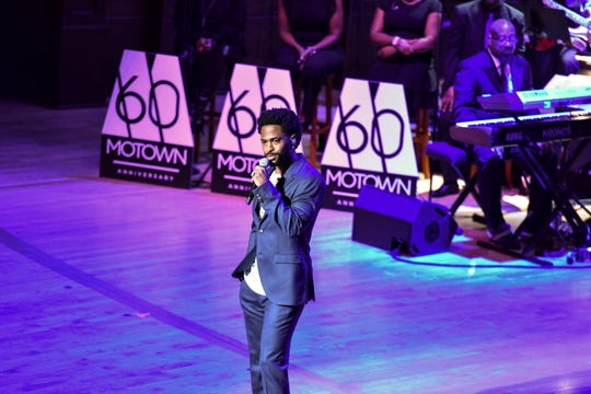 """Big Sean speaks at Motown's """"Hitsville Honors"""" on Sunday, Sept. 22, 2019, at Orchestra Hall in Detroit."""