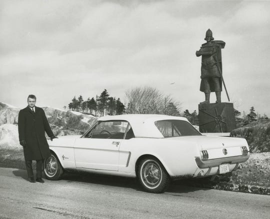 Ford Mustang Serial No. 1 and the original owner, Captain Stanley Tucker in Newfoundland, Canada in 1966.