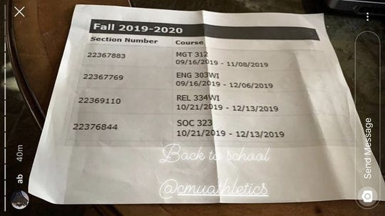Photo from Antonio Brown's Instagram account showing his online class schedule with Central Michigan, posted on Monday, Sept. 23, 2019.