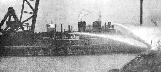 A Detroit Fire Department fireboat battling the 1969 Rouge fire. This is the only known remaining photo of the fire and was taken by the River Rouge Herald, a newspaper no longer in existence.