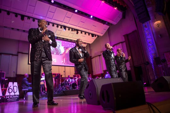 """Four Tops perform at Motown's """"Hitsville Honors"""" on Sunday, Sept. 22, 2019, at Orchestra Hall in Detroit."""