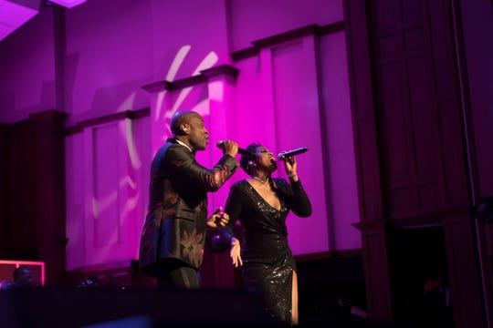 """Kem and Beth Griffith-Manley open the show at Motown's """"Hitsville Honors"""" on Sunday, Sept. 22, 2019, at Orchestra Hall in Detroit."""