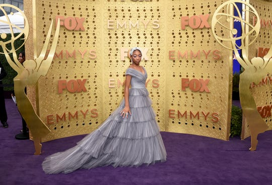 Eris Baker arrives at the 71st Primetime Emmy Awards on Sunday, Sept. 22, 2019, at the Microsoft Theater in Los Angeles. (Photo by Jordan Strauss/Invision/AP)