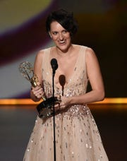 """Phoebe Waller-Bridge accepts the award for outstanding lead actress in a comedy series for """"Fleabag."""""""