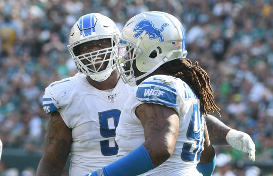 A'Shawn Robinson (left),  Damon Harrison Sr. and the Lions are unbeaten heading into a showdown with the Kansas City Chiefs.