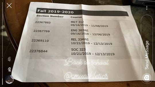 Former NFL receiver Antonio Brown posted what appears to be online classes he's enrolled in at Central Michigan University.