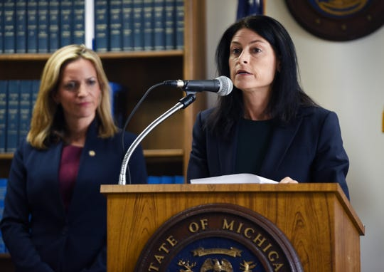 Michigan Attorney General Dana Nessel, with Secretary of State Jocelyn Benson (left) holds news conference on election fraud charges against Southfield City Clerk Sherikia L. Hawkins, who is charged with six felony counts tied to her handling of the November 2018 election.