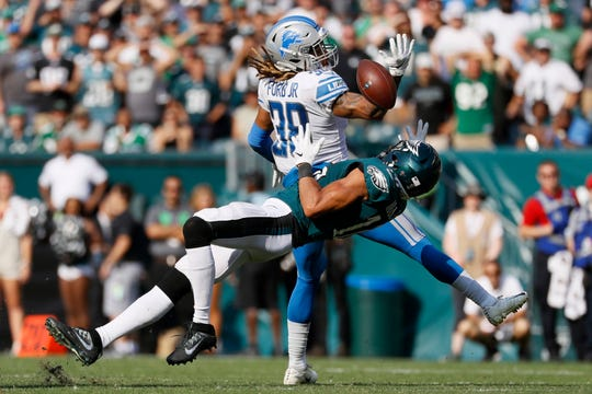 Eagles' Mack Hollins (16) cannot catch a pass against Lions' Mike Ford (38) during the second half on Sunday.