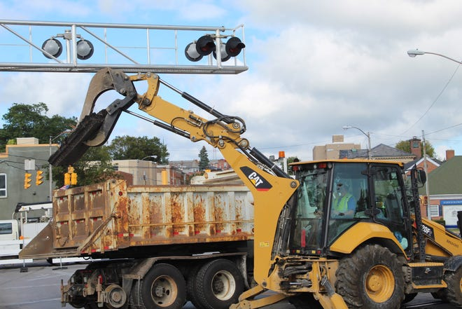 Work began Monday to replace railroad tracks at the State Street Bridge. The project could last up to five days.