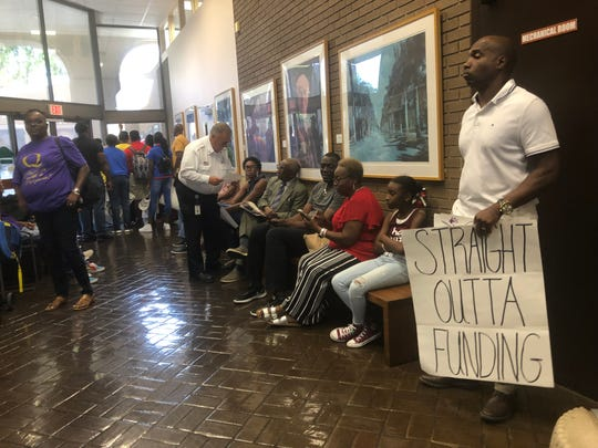 Stephen Moore, 55, attended the budget hearing meeting on Monday, Sept. 23, 2019, in order to protest the cut in funding to the Quality Life Center.
