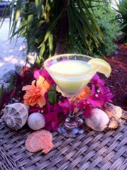 A Key lime martini rimmed in crumbled Graham crackers and sugar from Keylime Bistro on Captiva.