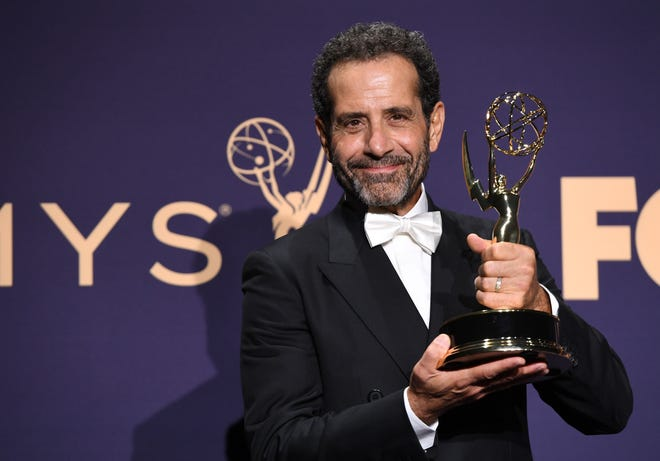 Green Bay native Tony Shalhoub poses with his Emmy Award for Outstanding Supporting Actor in a Comedy Series Sunday night at the Emmy Awards.