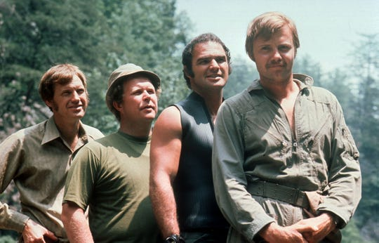 "Ronny Cox, Ned Beatty, Burt Reynolds and Jon Voigt, stars of the 1972 motion picture ""Deliverance."""