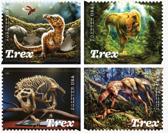 U.S. Postal Service releases stamps, some of which depict a dinosaur whose fossil was discovered in Montana.