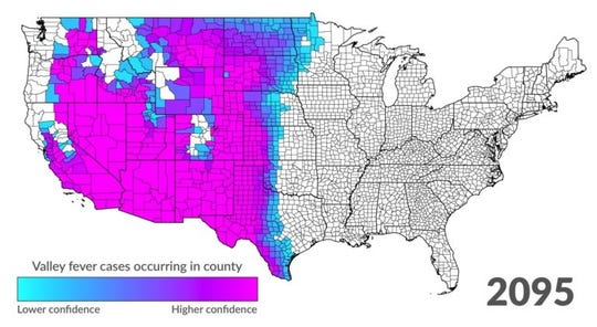 Predicted spread of Valley fever by century's end