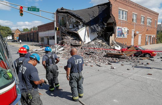 The building at the corner of 22nd Street and College partially collapsed following a 2-car collision Monday, Sept. 23, 2019. A truck and a car collided sending the truck into the building causing the collapse. Two people were taken to area hospitals.