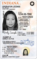 A an example of an Indiana Real ID for a minor, marked with the star in the upper right-hand corner.
