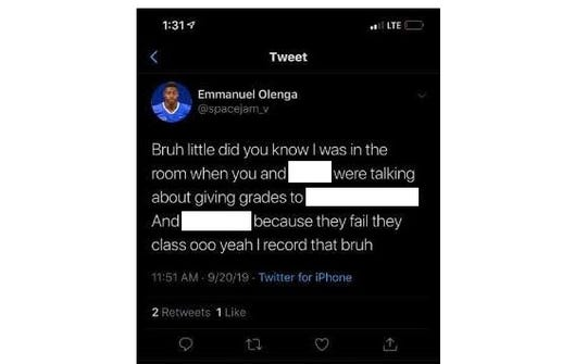 A redacted tweet from Emmanuel Olenga, former Jackson State University football player.