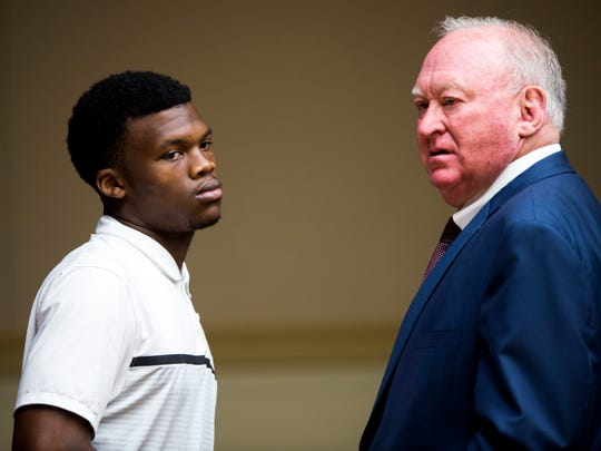 Tennessee football player Bryce Thompson, left, with attorney John Valliant, right, in Knox County misdemeanor court on Monday.