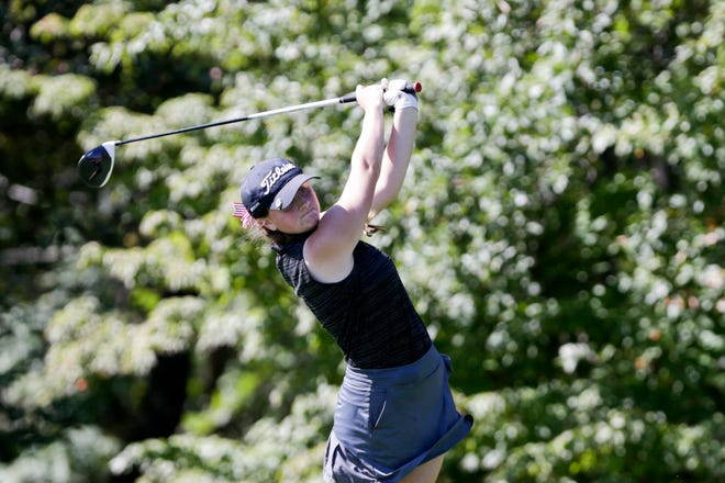 Lafayette Jeff's Halie Wolf tees off on hole no. 1 during the IHSAA girls golf Sectional #5, Monday, Sept. 23, 2019 at Coyote Crossing Golf Course in West Lafayette.