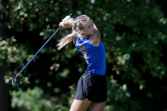 Harrison's Aubrey Pantell tees off on hole no. 1 during the IHSAA girls golf Sectional #5, Monday, Sept. 23, 2019 at Coyote Crossing Golf Course in West Lafayette.