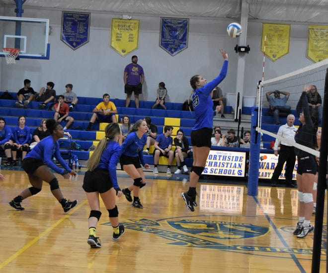 Northside Christian's senior middle hitter Brooke Guthrie (23) has been a key contributor to the Lady Warriors success this season.