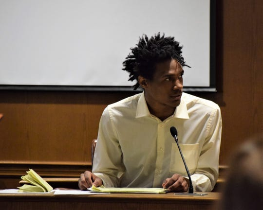 Raeqwan Hancock takes the stand Monday morning during his jury trial. Hancock is accused of killing a Pickerington man April 2018.