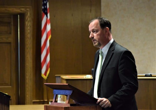 Brian Waltz, Fairfield County Assistant Prosecutor, gives his closing arguments to the jury Monday afternoon during the Raeqwan Hancock jury trial. Hancock is accused of killing a Pickerington man in April 2018.