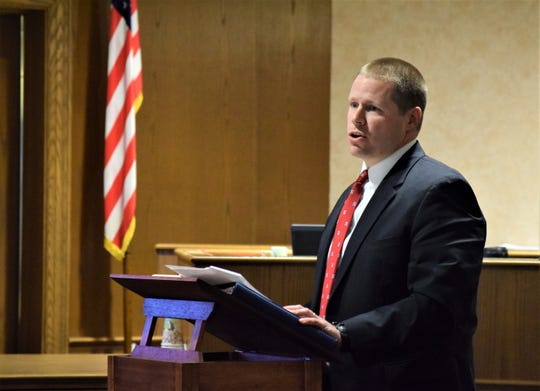 Kyle Witt, Fairfield County Prosecutor, gives a rebuttal to the defense counsel's closing remarks Monday afternoon during the Raeqwan Hancock jury trial. Hancock is accused of killing a Pickerington man in April 2018.
