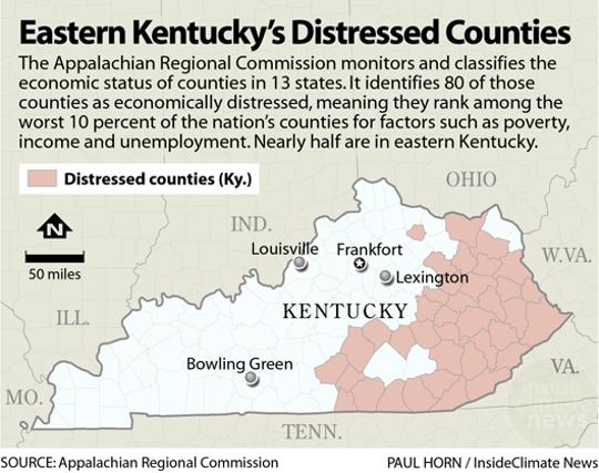 Eastern Kentucky's distressed counties