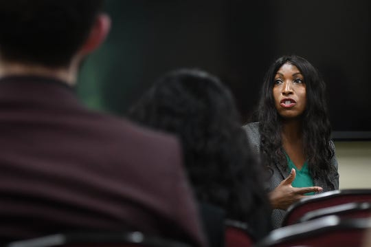 MSU Board of Trustees member Brianna Scott speaks Monday, Sept. 23, 2019, during a campus town hall meeting at the MSU Union.