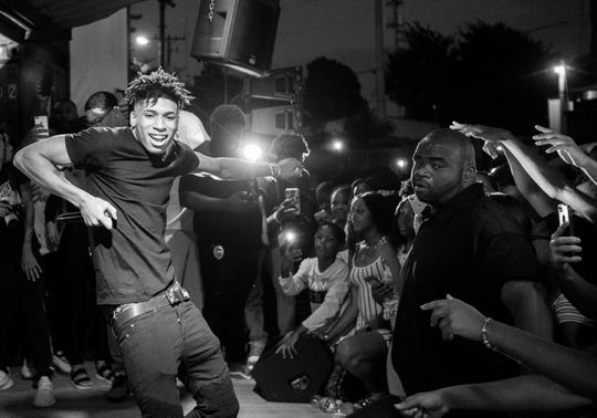 Memphis rapper NLE Choppa performs at  Moneybagg Yo's All Ages Birthday concert at Railgarten Sunday, Sept. 22, 2019.