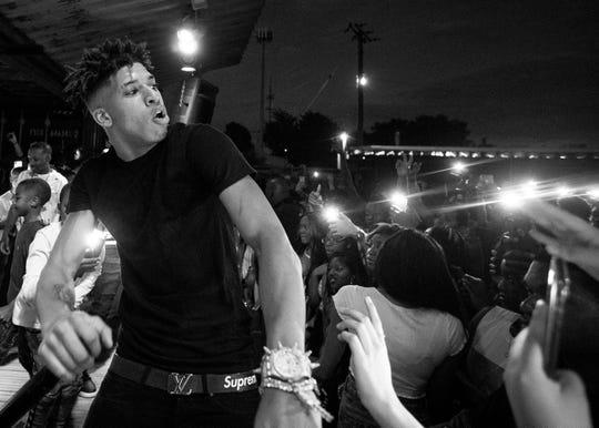 Memphis rapper NLE Choppa performs at Moneybagg Yo's birthday concert at Railgarten on Sept. 22, 2019.