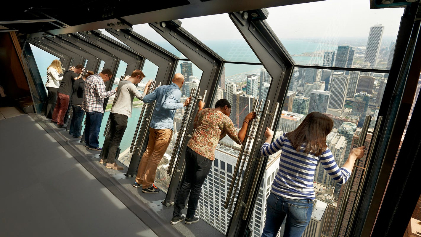 Forget Willis Tower. Try Tilt, which leans you at a 30-degree angle more than 1,000 feet above Chicago.