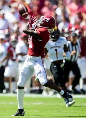 Alabama wide receiver Henry Ruggs, III, (11) catches his second touchdown pass against Southern Miss at Bryant-Denny Stadium in Tuscaloosa, Ala., on Saturday September 21, 2019.