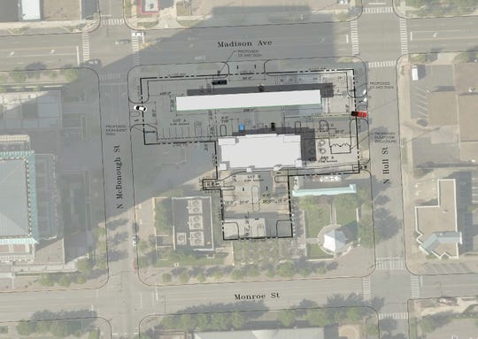 A map provided by the company shows the layout of a planned Circle K in downtown Montgomery.
