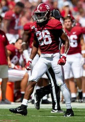 Alabama defensive back Josh Jobe (28) against Southern Miss at Bryant-Denny Stadium in Tuscaloosa, Ala., on Saturday September 21, 2019.