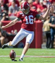 Alabama placekicker Will Reichard (16) kicks off against Southern Miss at Bryant-Denny Stadium in Tuscaloosa, Ala., on Saturday September 21, 2019.