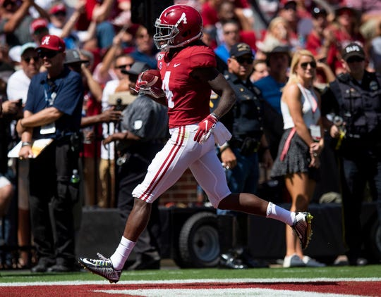 Alabama wide receiver Jerry Jeudy (4) scores a touchdown against Southern Miss at Bryant-Denny Stadium in Tuscaloosa, Ala., on Saturday September 21, 2019.